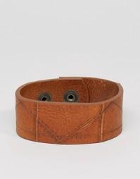 Светло-коричневый кожаный браслет‑манжет Diesel A‑Hustle - Рыжий