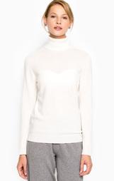 Шерстяной свитер с высоким горлом молочного цвета Stefanel