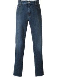 джинсы кроя слим с эффектом потертости Borrelli