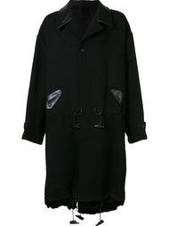 пальто с кожаными деталями Yohji Yamamoto