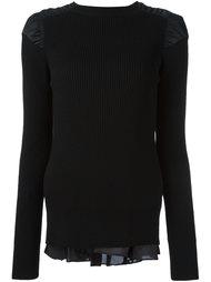 свитер с контрастной вставкой Sacai