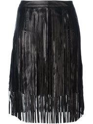 кожаная юбка с бахромой Drome