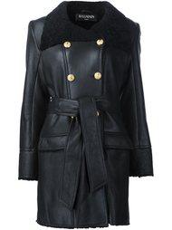 двубортное пальто с отделкой Balmain