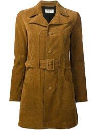 короткое пальто с поясом в стиле 70-х Saint Laurent