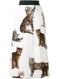 юбка А-образного силуэта с принтом кошек Dolce & Gabbana