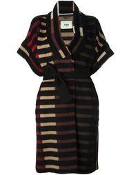 пальто в полоску с поясом  Fendi
