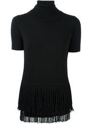 блузка с высокой горловиной и бахромой Nº21