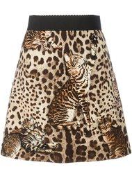 юбка с леопардовым узором и принтом кошки Dolce & Gabbana