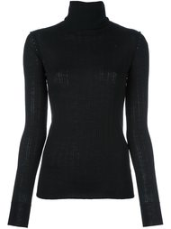 трикотажная блузка в рубчик с высокой горловиной Tomas Maier