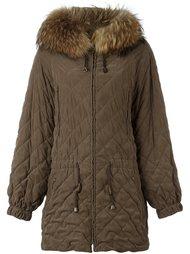 стеганое пальто с меховой оторочкой Hermès Vintage