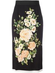 юбка с принтом роз Dolce & Gabbana