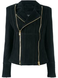 ribbed accent biker jacket Balmain