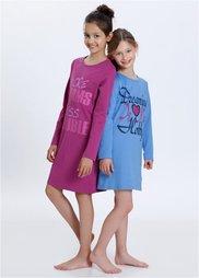 Ночная рубашка (2 шт.), Размеры  128/134-176/182 (фиолетовая орхидея/голубой) Bonprix