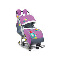 Санки-коляска Ника детям 7-2, Коллаж-снеговик, орхидея