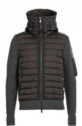 Пуховая куртка с капюшоном и вязаными рукавами Moncler