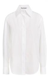 Хлопковая блуза прямого кроя с высоким воротником Acne Studios