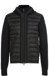 Пуховая куртка с капюшоном и шерстяными рукавами Moncler