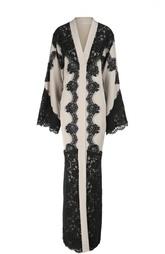 Шелковая абайя с контрастной кружевной отделкой Dolce & Gabbana