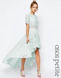 Платье миди для выпускного с удлиненной спинкой и кружевом ASOS PETITE