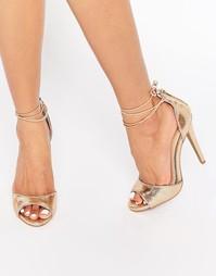 Сандалии на каблуке с завязкой на щиколотке Ravel - Розовое золото