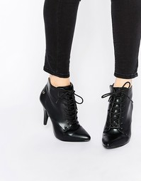 Ботильоны на каблуке со шнуровкой Blink - Black lambskin pu