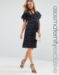 Чайное платье миди для беременных с узором в горошек и запахом ASOS Ma