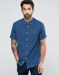 Оксфордская рубашка цвета светло-синего индиго с короткими рукавами Ly Lyle &; Scott