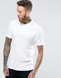 Легкая облегающая футболка-поло в рубчик ASOS - Бежевый