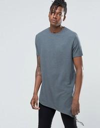 Удлиненная фактурная футболка с затягивающимся шнурком по нижнему краю Asos