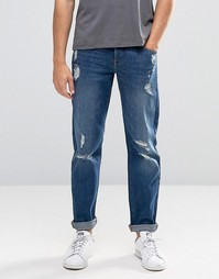 Синие узкие джинсы стретч с рваными коленками ASOS - Умеренный синий