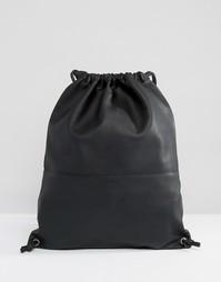 Мягкий кожаный рюкзак на шнурке Sandqvist Jenny - Черный