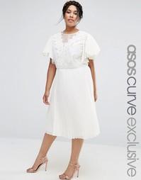 Платье миди с отделкой кроше и вставками из органзы ASOS CURVE