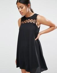 Цельнокройное платье с завязкой спереди Love - Черный