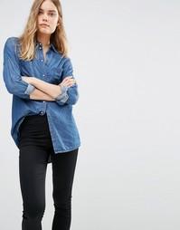 Джинсовая оversize-рубашка Noisy May - Умеренный синий