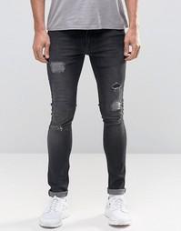 Черные выбеленные рваные джинсы с заплатками Kubban Denim - Черный