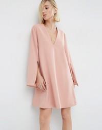 Платье мини с V-образным вырезом ASOS WHITE - Blush