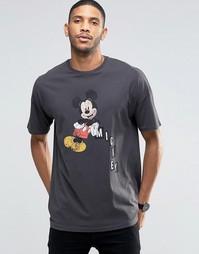 Oversize-футболка с винтажным принтом Микки Мауса ASOS - Черный
