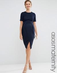 Двухслойное фактурное платье-футляр для беременных ASOS Maternity