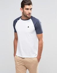 Сине-белая футболка с контрастными рукавами и логотипом ASOS