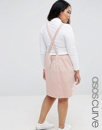 Розовый джинсовый сарафан мини с открытой спиной ASOS CURVE - Розовый