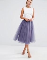Тюлевая юбка миди Little Mistress - Серый
