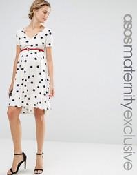 Платье для беременных в горошек с ремнем ASOS Maternity