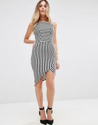Полосатое платье-футляр с асимметричным краем Jessica Wright