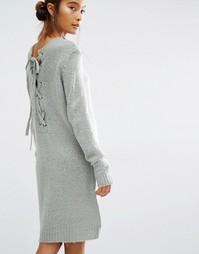 Вязаное платье со шнуровкой сзади First & I - Shadow
