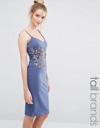 Платье-футляр на бретельках с цветочной отделкой Little Mistress Tall
