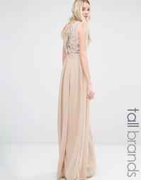 Платье макси с декорированной спинкой Maya Tall - Mink