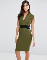 Платье-футляр с короткими рукавами и поясом Vesper - Хаки