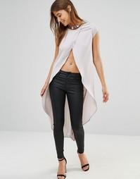 Удлиненная блузка с запахом Oh My Love - Пепельный серый