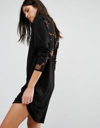 Черное трикотажное платье с прозрачной камуфляжной отделкой Diesel