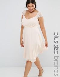 Приталенное платье миди из шифона с кружевными рукавами Boohoo Plus